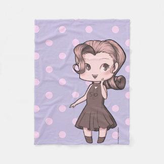 Animate Chibi Girl and Polka Dowries Fleece Blanket