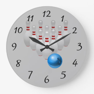 Animated bowling ball and pins large clock