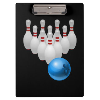 Animated bowling pins and ball clipboard