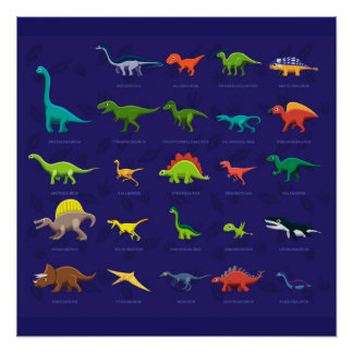Animated Dinosaurs with names underneath Poster