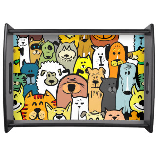 Animated Dogs and Cats illustrations Serving Tray