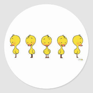Animated ducky classic round sticker
