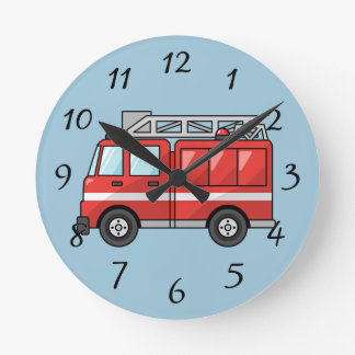 Animated Fire Engine Round Clock