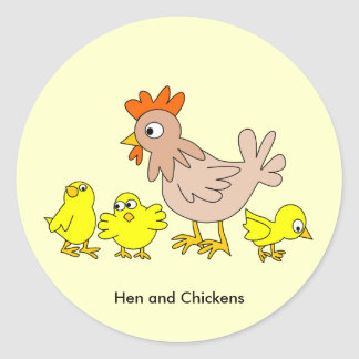 Animated Hen and Chickens Classic Round Sticker