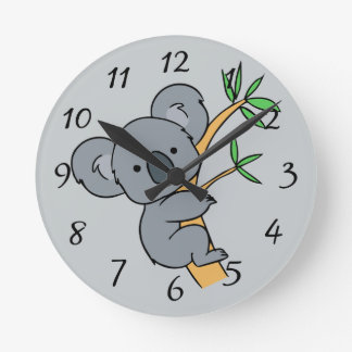 Animated Koala Bear Round Clock