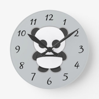 Animated Panda Bear Round Clock