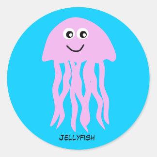 Animated Pink Jellyfish Round Stickers