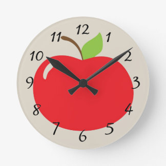 Animated red apple round clock