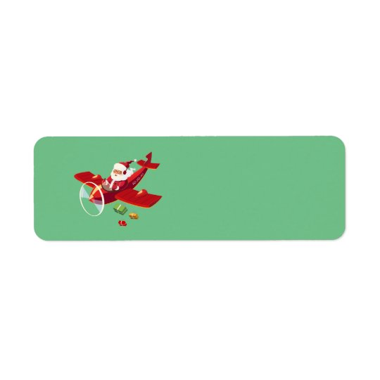 Animated Santa and his airplane Return Address Label