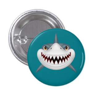 Animated Scary Shark Face 1 Inch Round Button