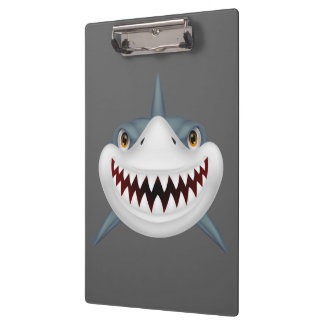 Animated scary shark face clipboard