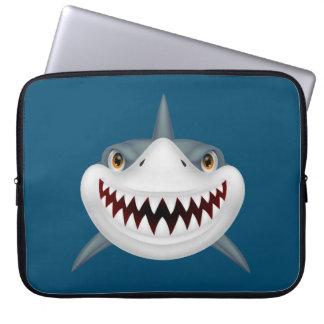 Animated Scary Shark Face Laptop Sleeve
