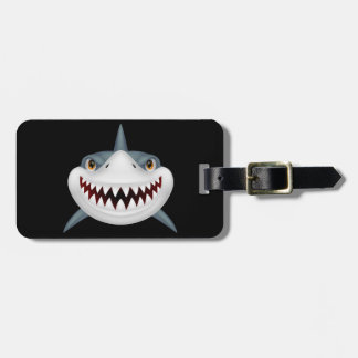 Animated Scary Shark Face Luggage Tag
