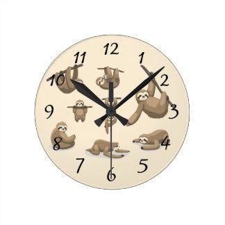 Animated Sloths Round Clock