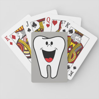 Animated smiling tooth playing cards
