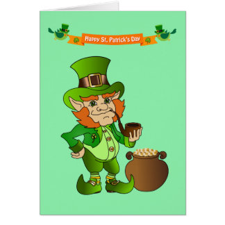 Animated St. Patrick's Day Leprechaun Note Card
