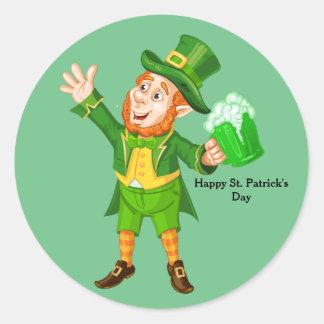 Animated St. Patrick's Day Leprechaun Round Sticker