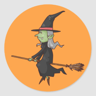 Animated Witch on Broom Round Sticker