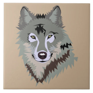 Animated Wolf Face Ceramic Tile