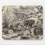 Animaux animaux africains d'illustration de 1800s tapis de souris