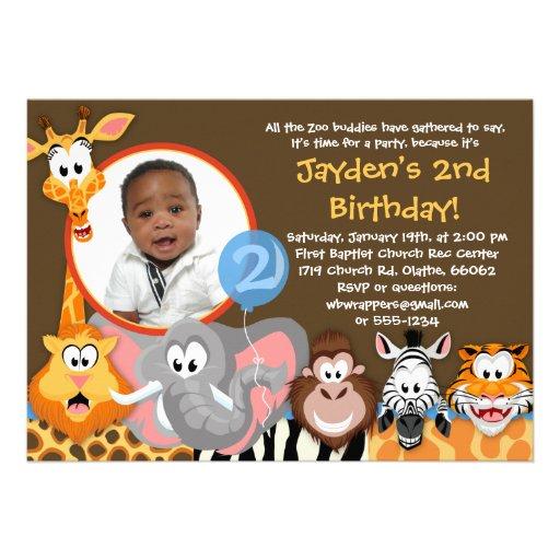 Animaux de zoo - invitation d'anniversaire d'anima