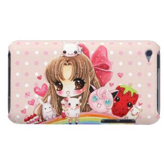 Animaux mignons de fille et de kawaii se reposant coque Case-Mate iPod touch