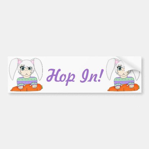 Anime Bunny Rabbit Boy With Carrot Bumper Sticker