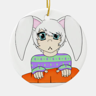 Anime Bunny Rabbit Boy With Carrot Ceramic Ornament