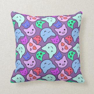 Anime Cat Face Pattern Throw Pillow