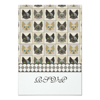 """Anime Cat Faces Pattern 3.5"""" X 5"""" Invitation Card"""