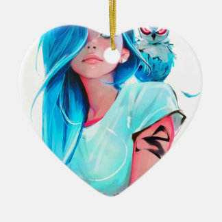 anime cool looking girl design graphic ceramic ornament