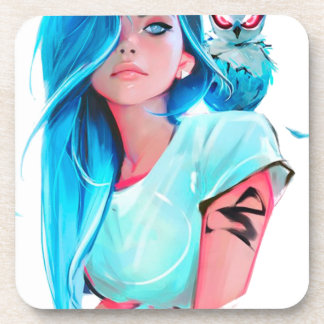 anime cool looking girl design graphic coaster