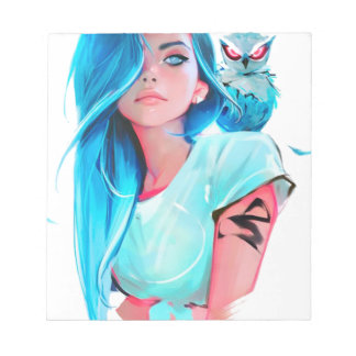 anime cool looking girl design graphic notepad