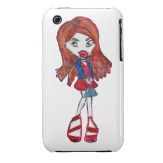 Anime Fashionista Girl Blackberry Curve Case-Mate iPhone 3 Covers