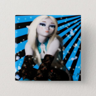 Anime Frost Elfin Girl 2 Inch Square Button