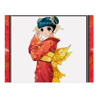 Anime Geisha Postcard
