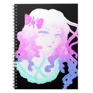 Anime  Hipster Kawaii Pastel Creepy Cute Girl Spiral Note Book