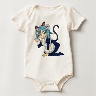 Anime Schoolgirl Cat on her Knees in Maid Dress
