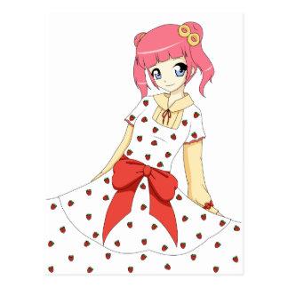 Anime Strawberry Dress Girl Postcard