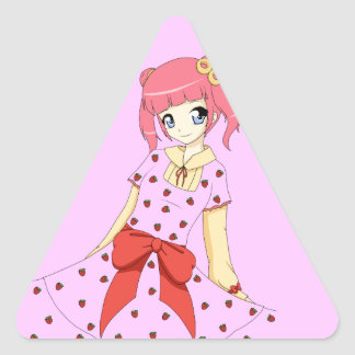 Anime Strawberry Dress Girl Triangle Sticker