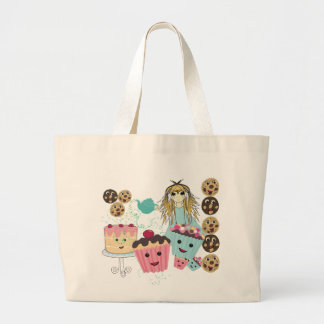 Anime Tea Party  kawaii Cake Large Tote Bag
