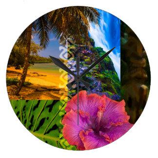 Anini Beach, Kauai Hawaiian Collage Wall Clock