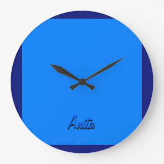 Anita blue round wall clock for home decoration