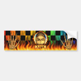 Anita skull real fire and flames bumper sticker. bumper sticker