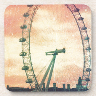 Anitiqued London Eye at Sunrise Drink Coaster