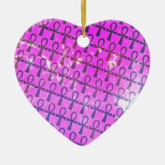 Ankh Pattern Ceramic Heart Ornament