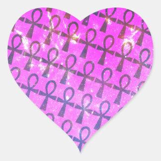 Ankh Pattern Heart Sticker
