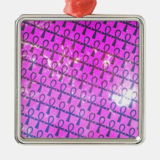 Ankh Pattern Silver-Colored Square Ornament