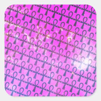 Ankh Pattern Square Sticker