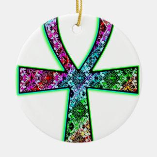Ankh Psychedelic Round Ceramic Ornament